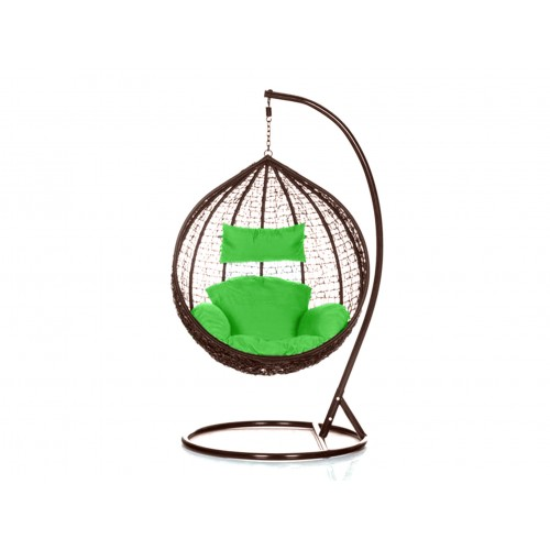 Brand New Outdoor Decor Hanging Swinging Egg/Pod Chair for Garden Home SW76B Brown Chair With Green Cushion