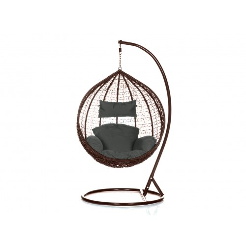 Brand New Outdoor Decor Hanging Swinging Egg/Pod Chair for Garden Home SW76B Brown Chair With Grey Cushion