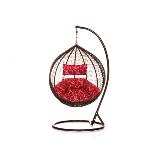 Brand New Outdoor Decor Hanging Swinging Egg/Pod Chair for Garden Home SW76B Brown Chair With Red Oval Pattern Cushion