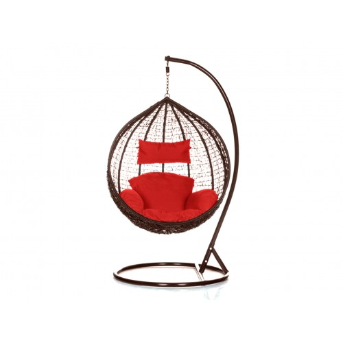 Brand New Outdoor Decor Hanging Swinging Egg/Pod Chair for Garden Home SW76B Brown Chair With Red Cushion