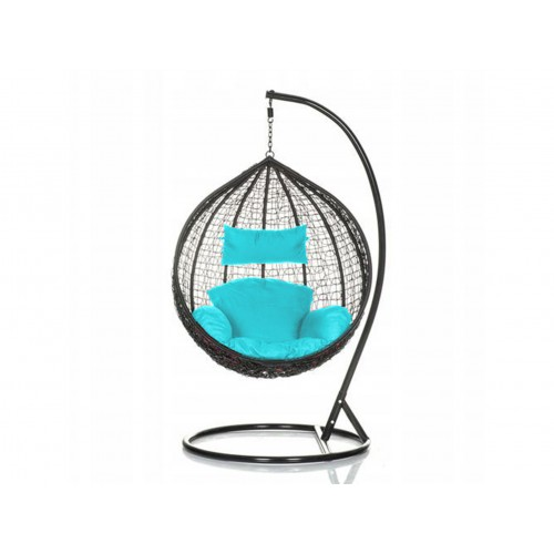 Brand New Outdoor Decor Hanging Swinging Egg/Pod Chair for Garden Home SW76K Black Chair With Blue Cushion