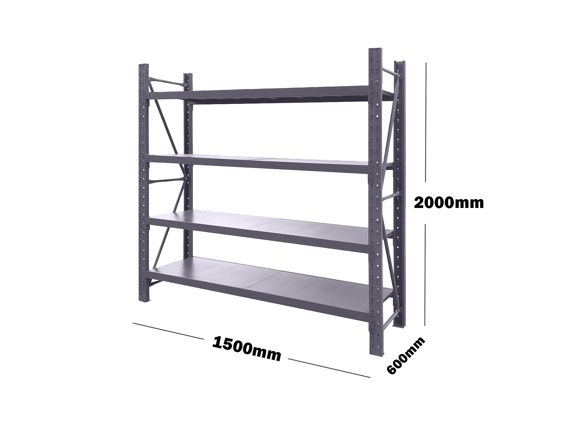 1.5M(L) x 2M(H) x 0.6M(D) Shelves Racking Metal Steel CHARCOAL 1520K