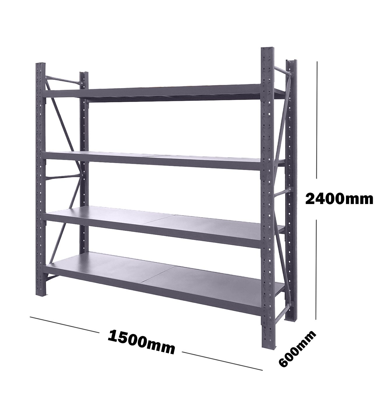 1.5M(L) x 2.4M(H) x 0.6M(D) Shelves Racking Metal Steel Charcoal 1524C