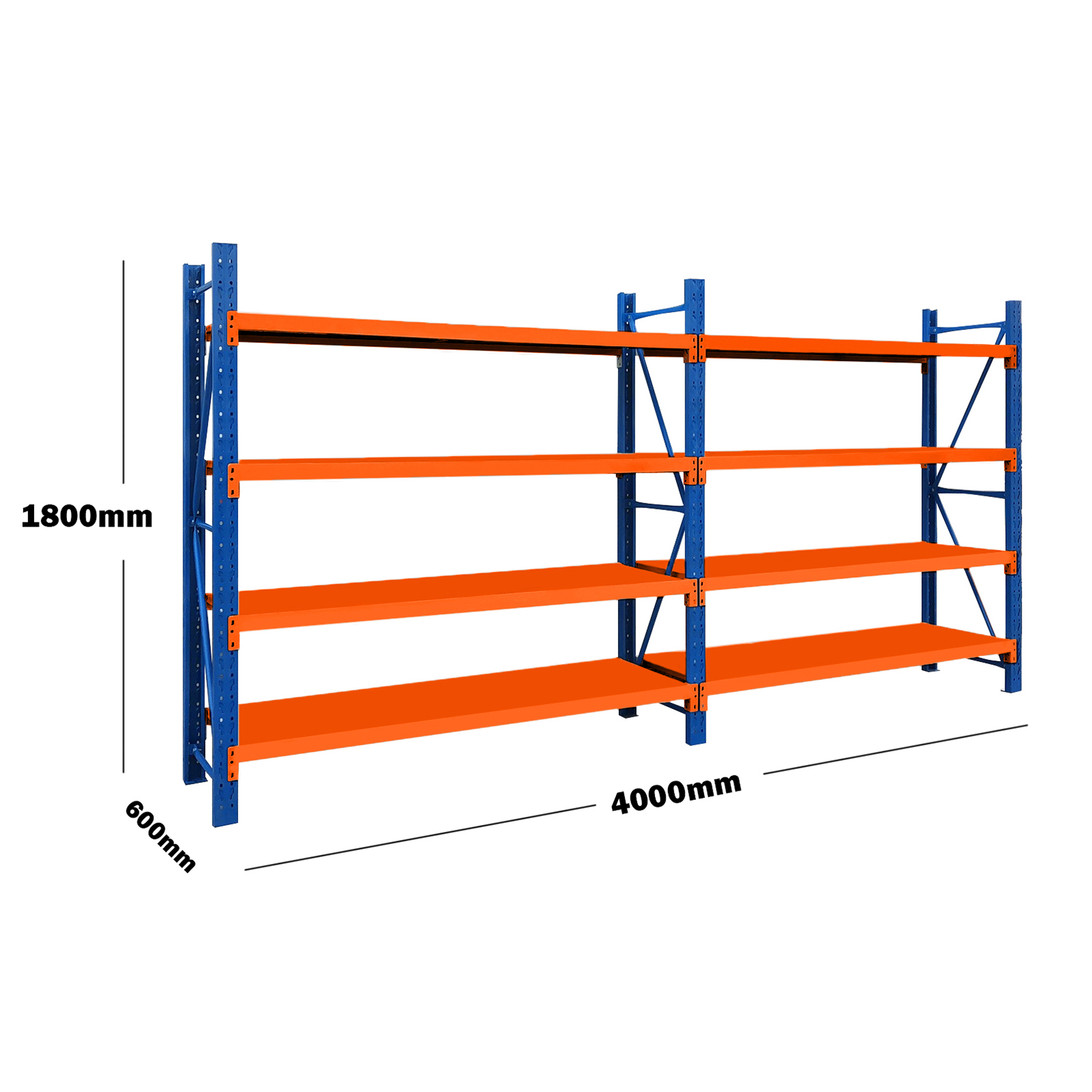 4M(L) x 1.8M(H) x 0.6M(D) Shelves Racking Metal Steel 4018BO