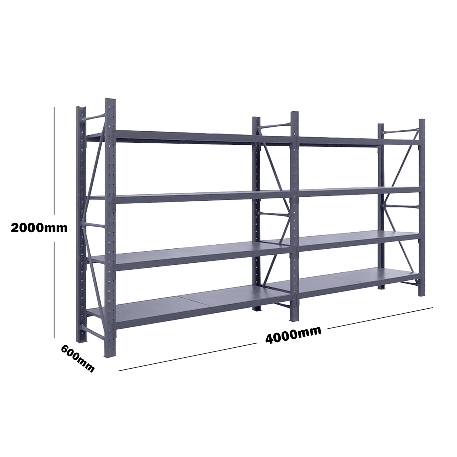 4M(L) x 2M(H) x 0.6M(D) Shelves Racking Metal Steel Charcoal 4020C