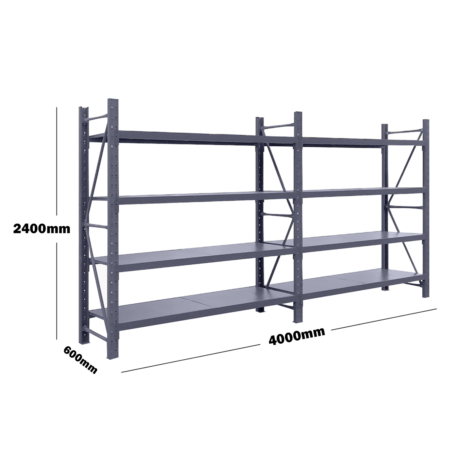 4M(L) x 2.4M(H) x 0.6M(D) Shelves Racking Metal Steel Charcoal 4024C