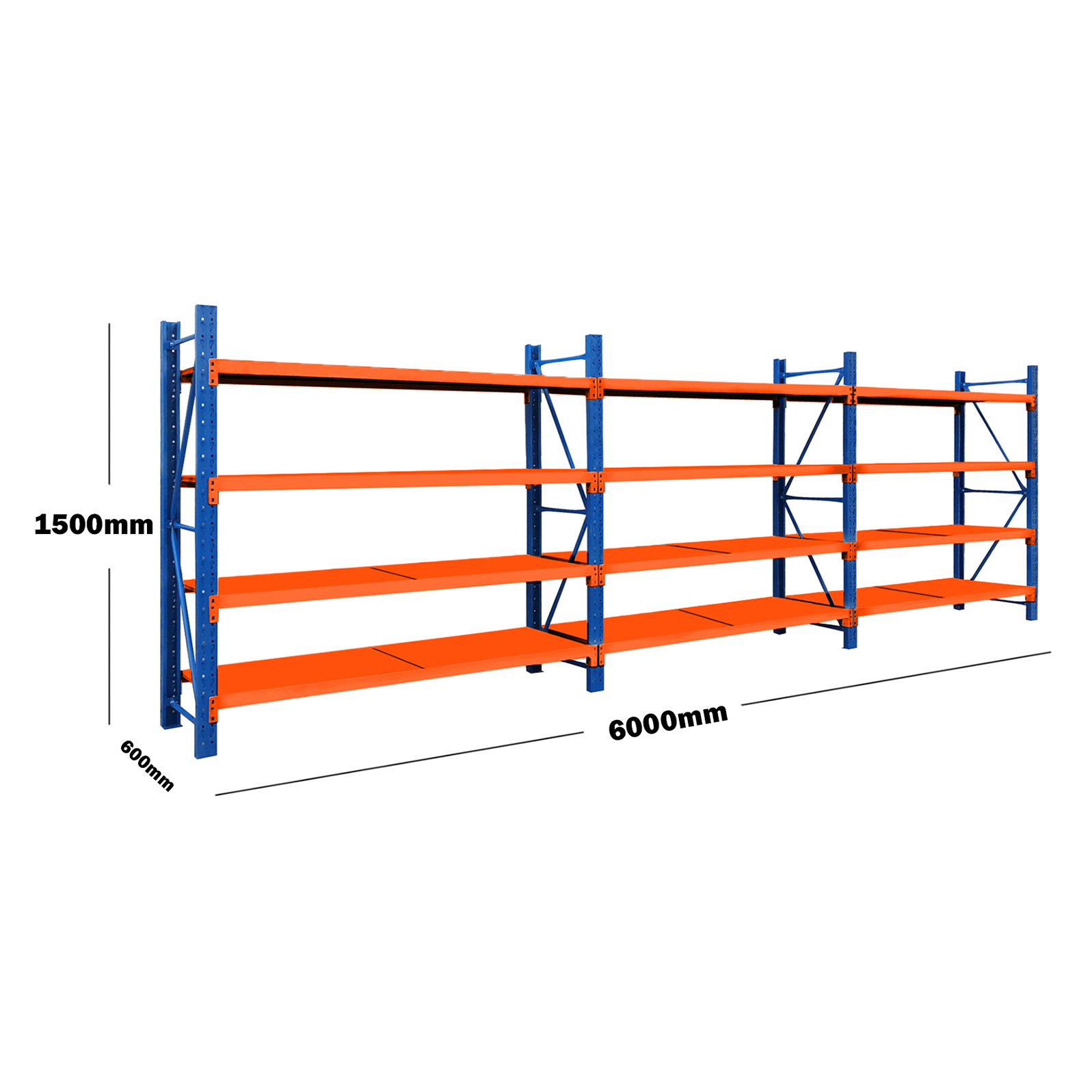 6M(L) x 1.5M(H) x 0.6M(D) Shelves Racking Metal Steel 6015BO