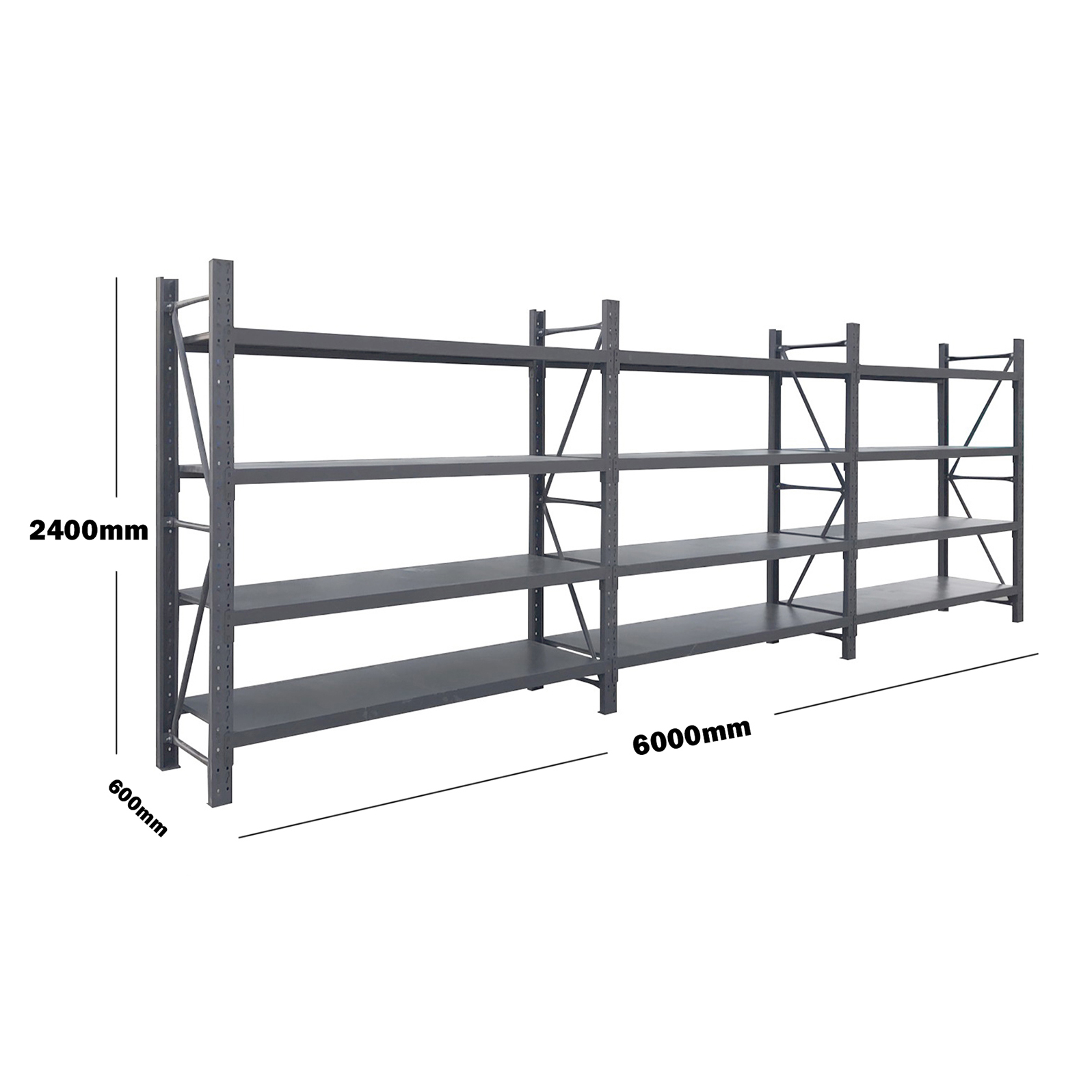 6M(L) x 2.4M(H) x 0.6M(D) Shelves Racking Metal Steel Charcoal 6024C