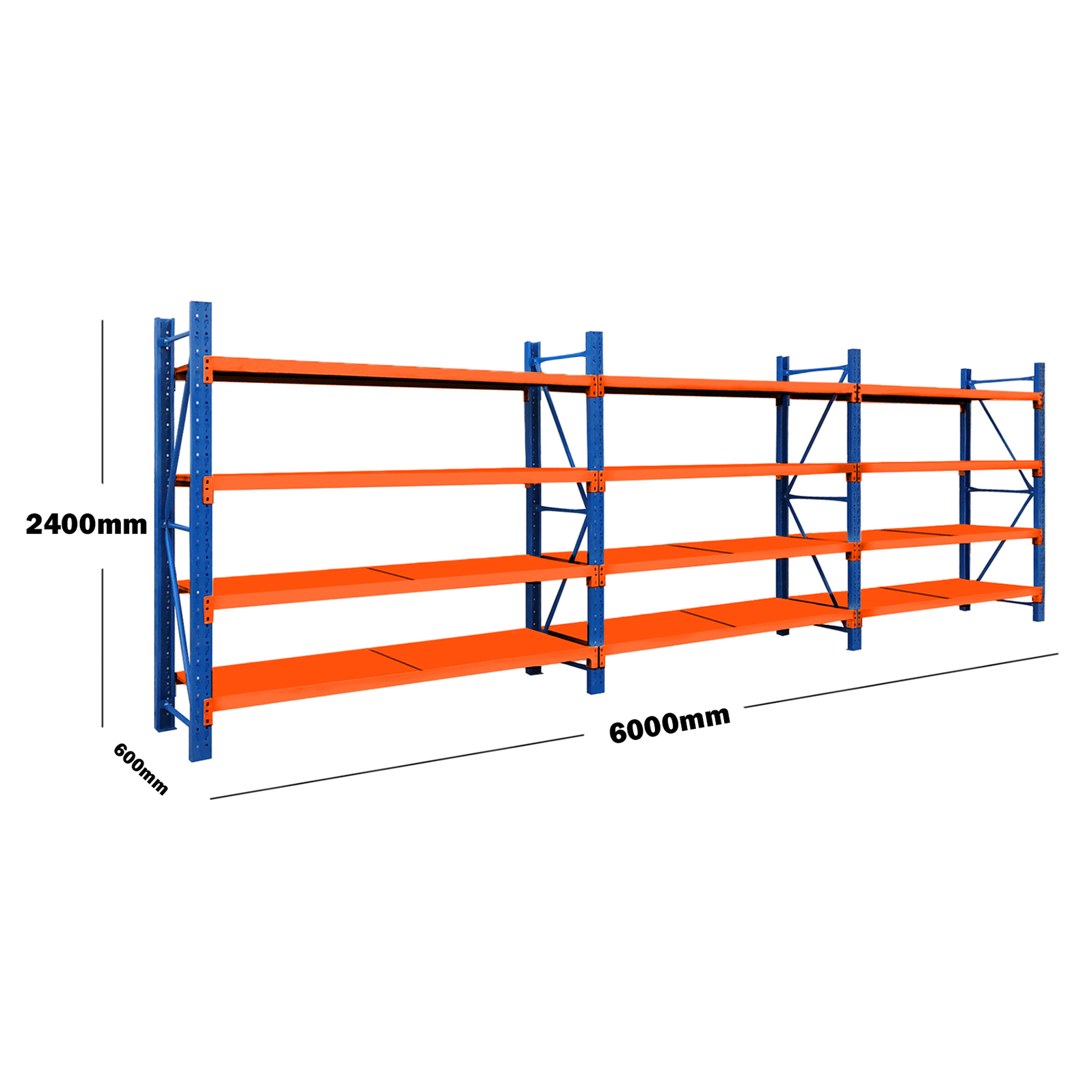 6M(L) x 2.4M(H) x 0.6M(D) Shelves Racking Metal Steel Blue & Orange 6024BO