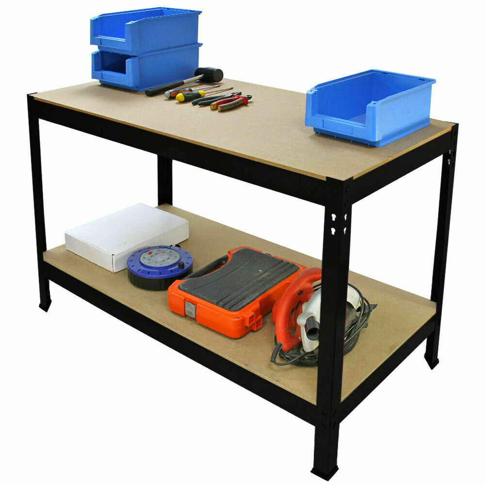 120cm Heavy Duty MDF 2 Tier Workbench Unit Black WB12K