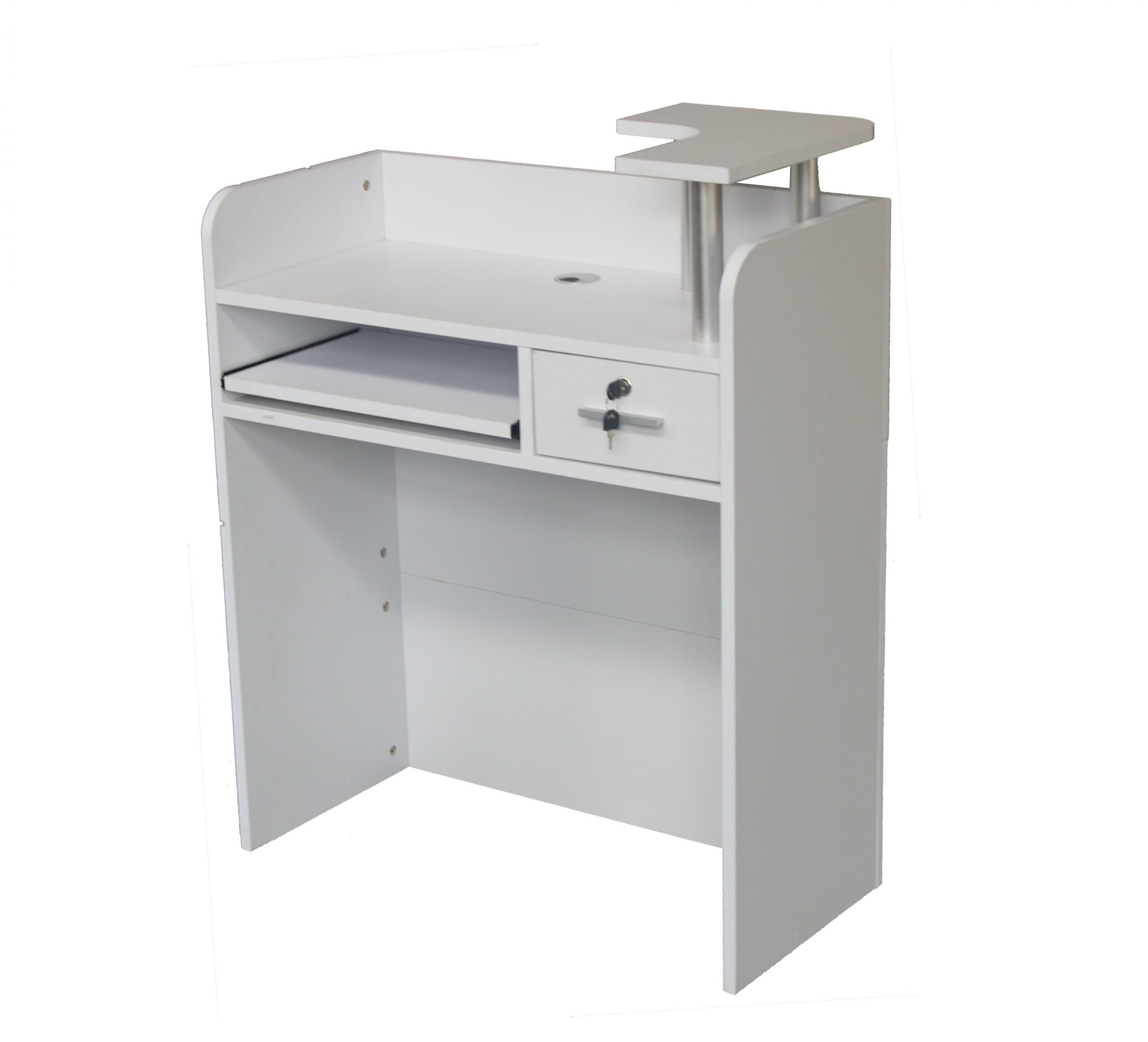 Brand New 80cm Small White Compact Reception Desk Counter For Retail Shops