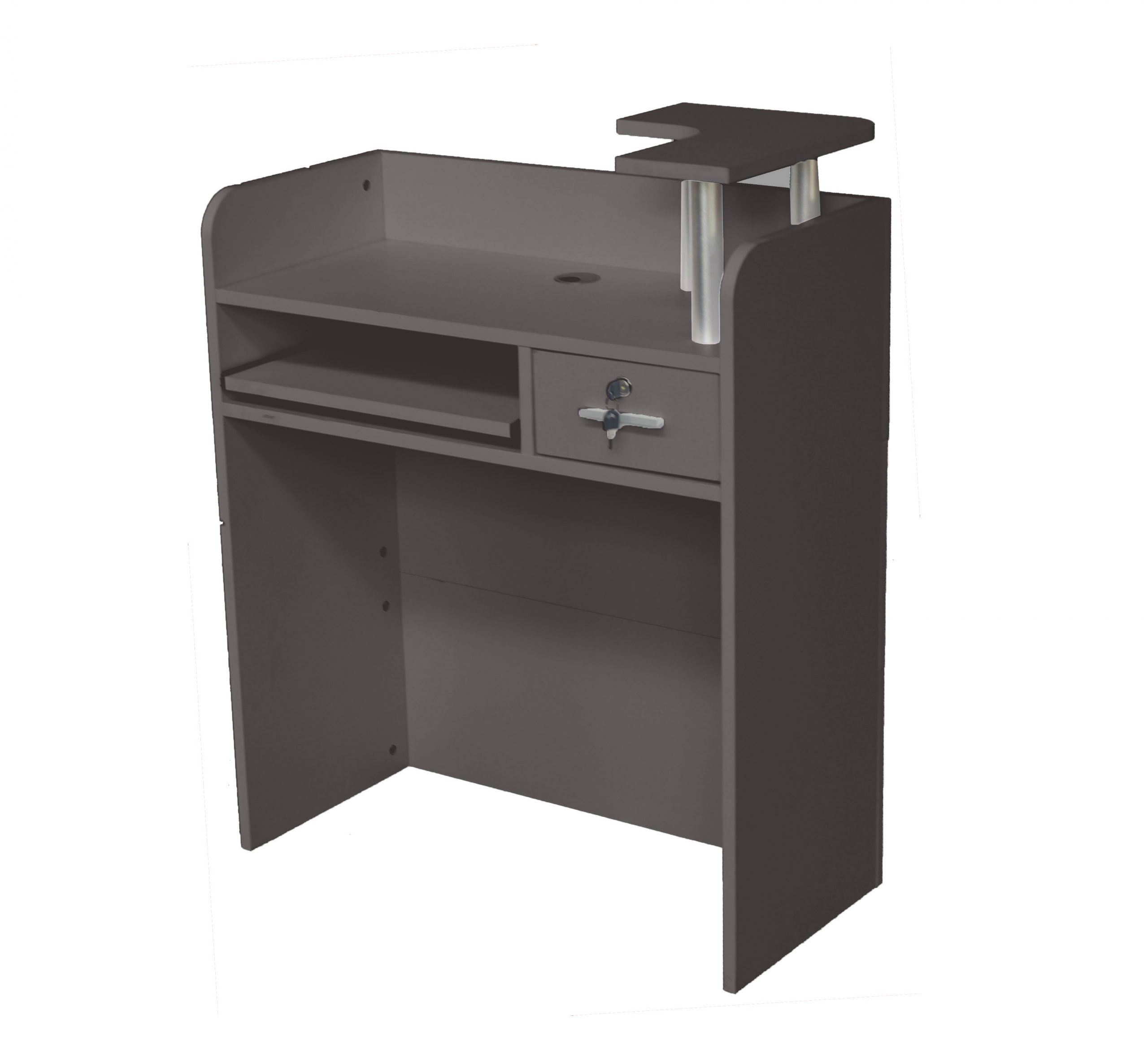 Brand New 80cm Small Charcoal Grey Compact Reception Desk Counter For Retail Shops