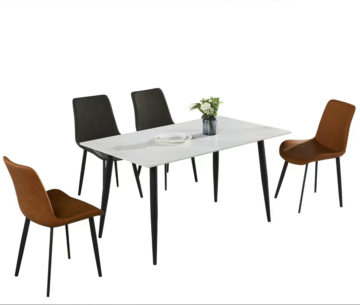 5 Piece Space Saving 4 Seater Dining Room Set White or Black Table Top