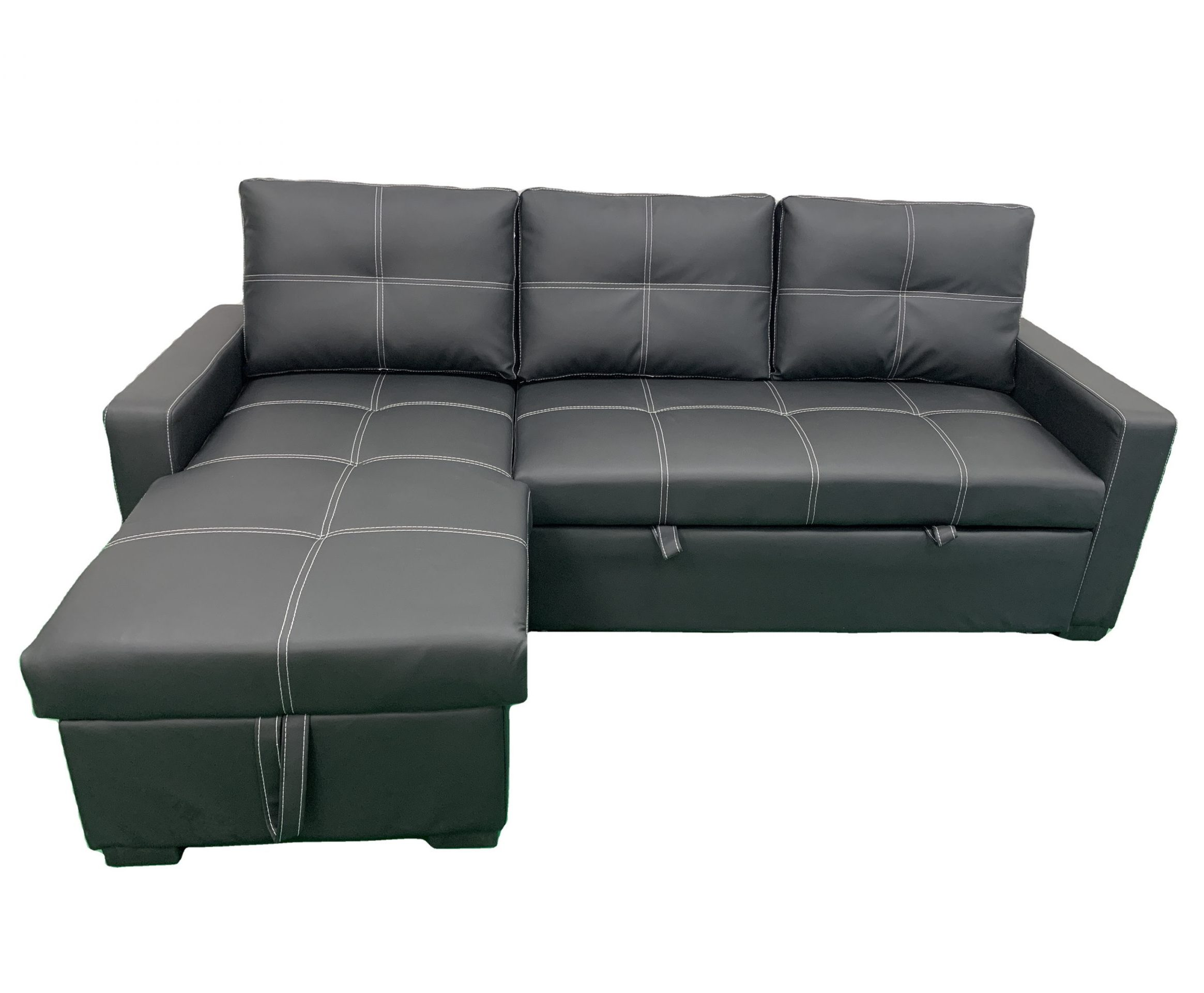 Black PU Leather Convertible Sofa Bed With Chaise Hidden Storage Couch BT1703