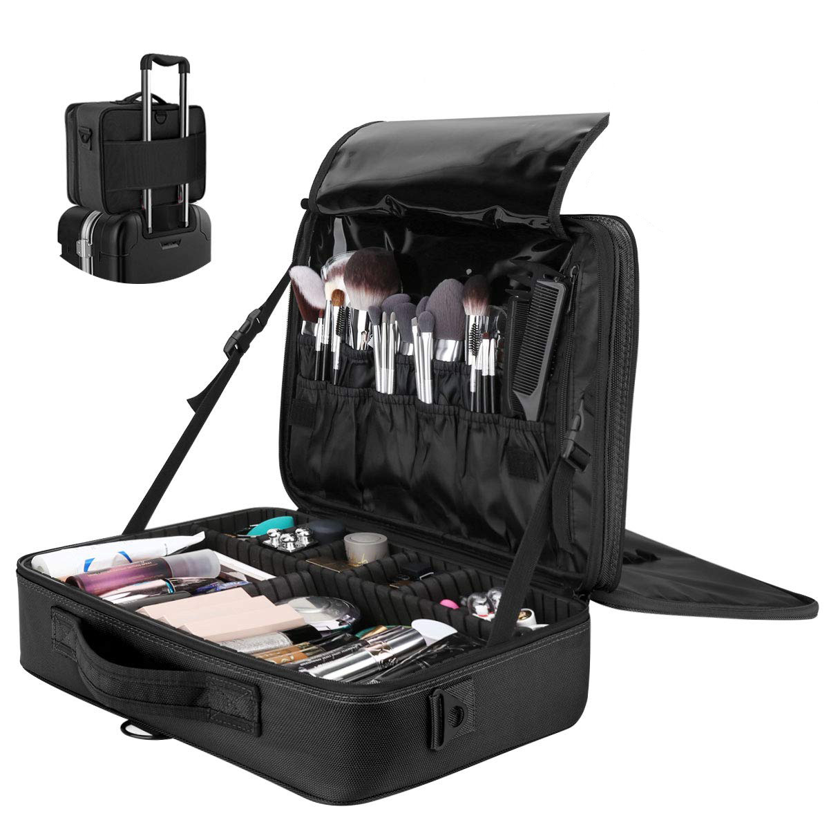 Professional Cosmetic Makeup Carry Case Organizer Bag With Dividers MUBA-L