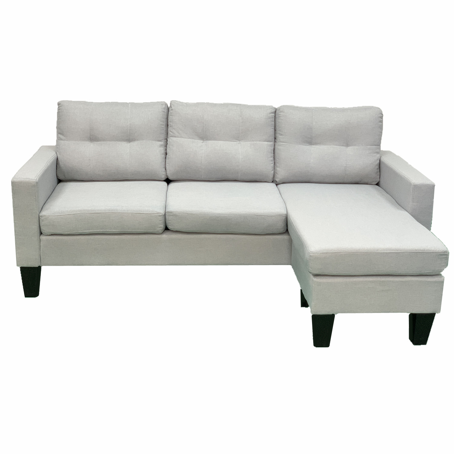 Light Grey Cushioned Convertible Sofa Bed With Chaise Living Room Couch BT1709LG