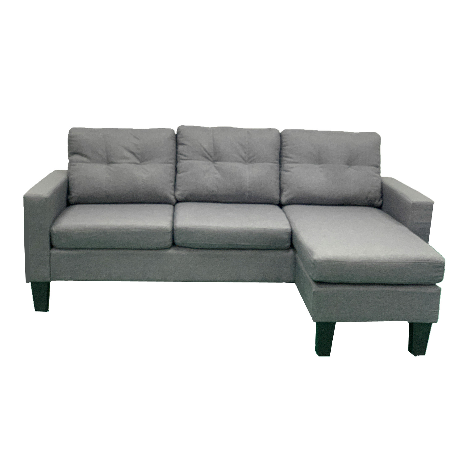 Dark Grey Cushioned Convertible Sofa Bed With Chaise Living Room Couch BT1709DG
