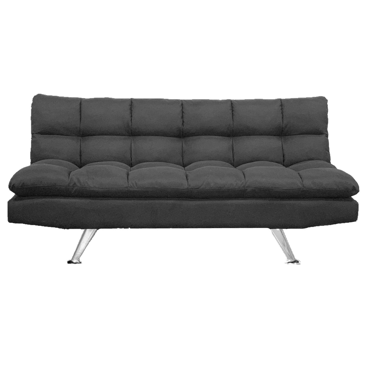 Black Cushioned Convertible Sofa Bed Living Room Relaxing Couch BT1923