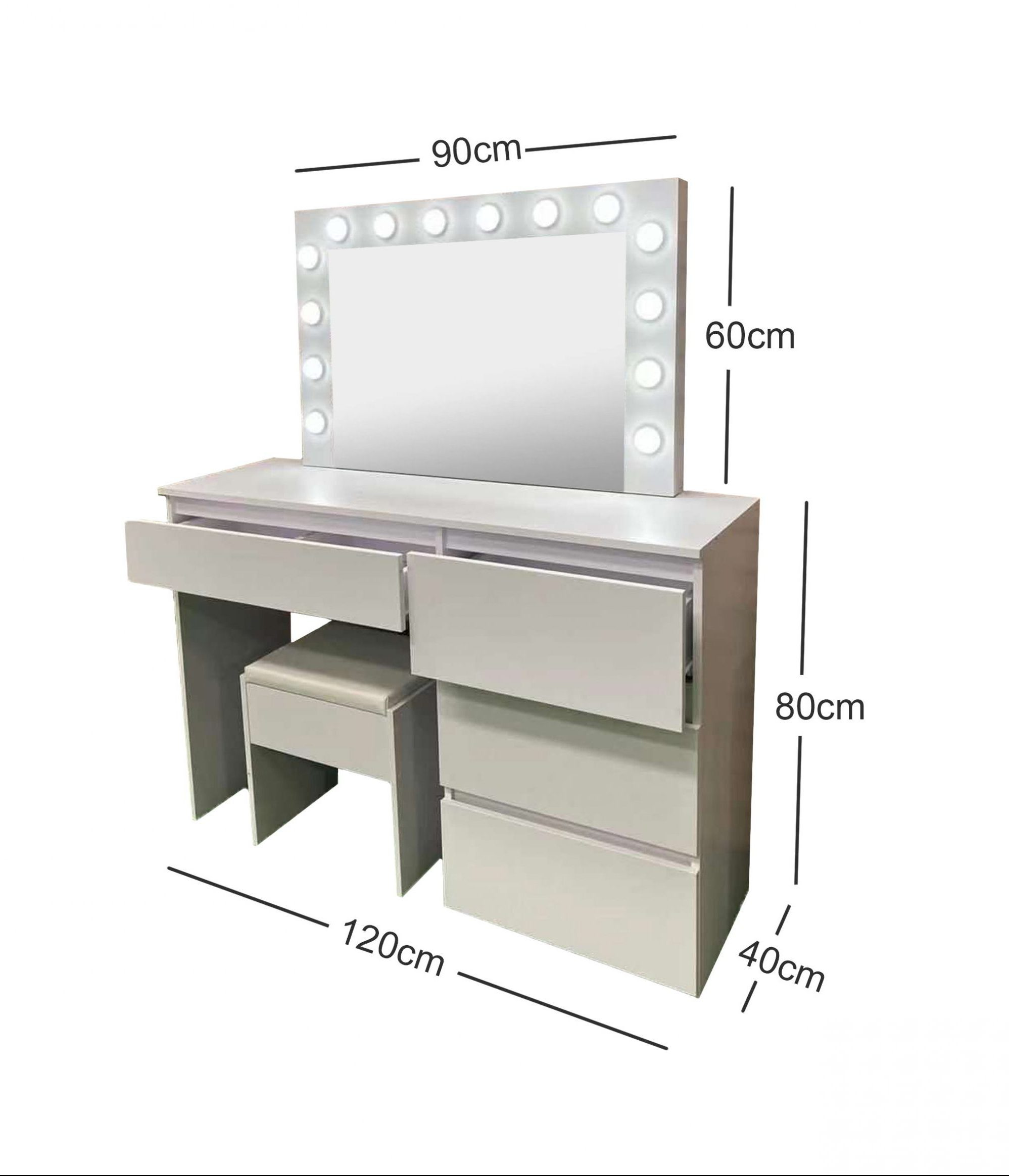 White Make-Up Dresser Table with LED Mirror With Drawers & Pull Out Chair KL-DS04