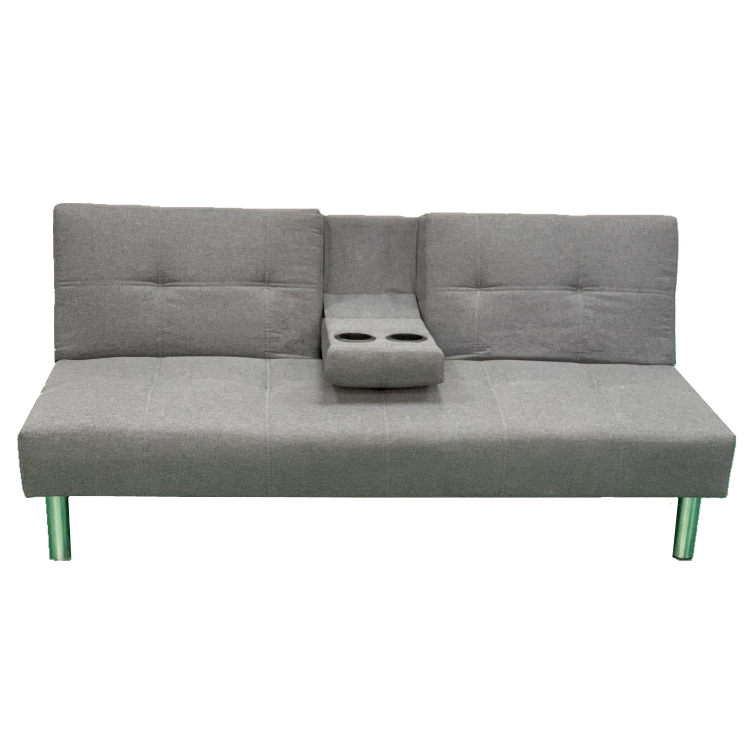 Grey Cushioned Convertible Sofa Bed Living Room Relaxing Couch BTC1718