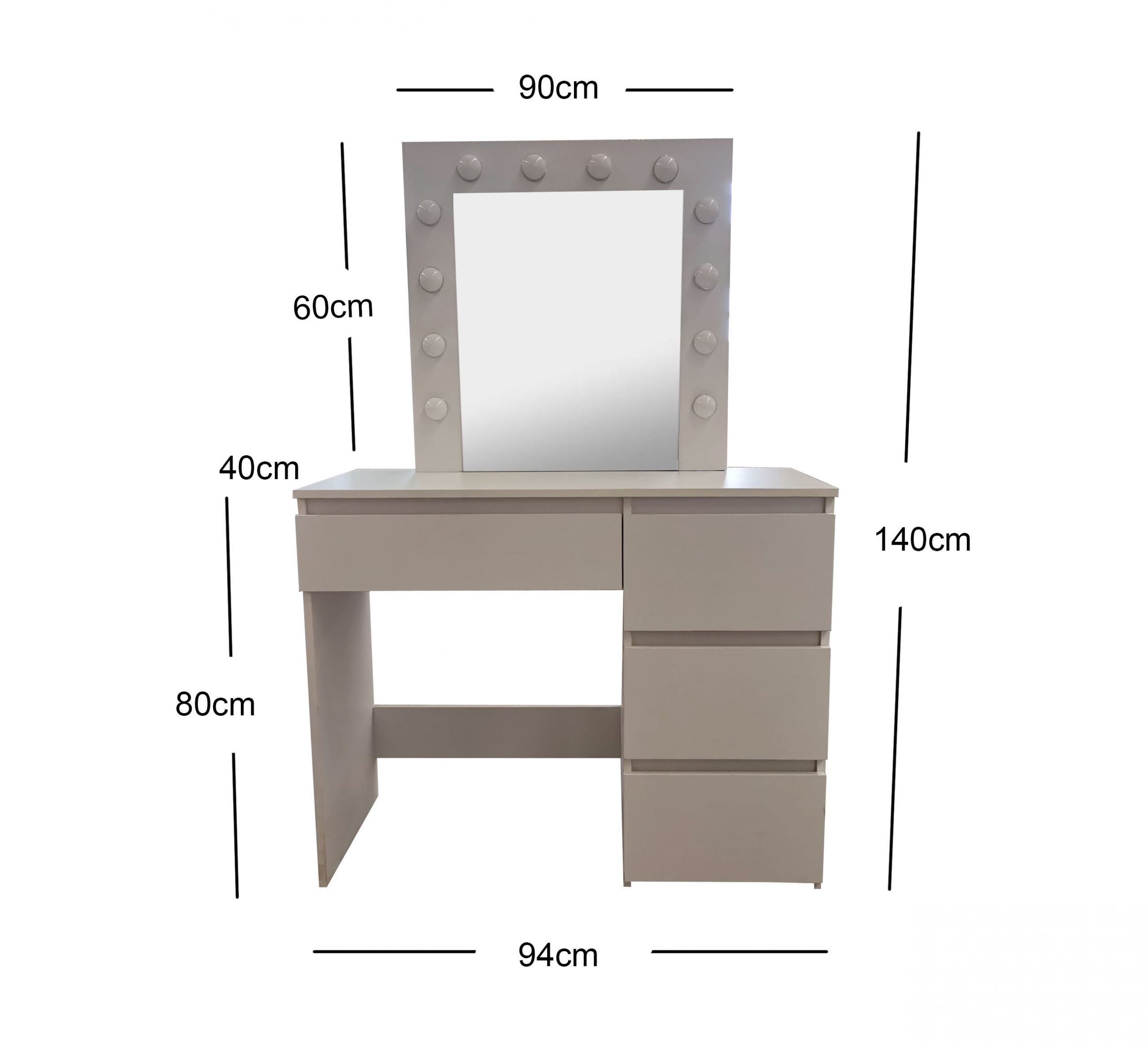 White Make-Up Dresser Table with LED Mirror With Drawers & Pull Out Chair KL-DS05