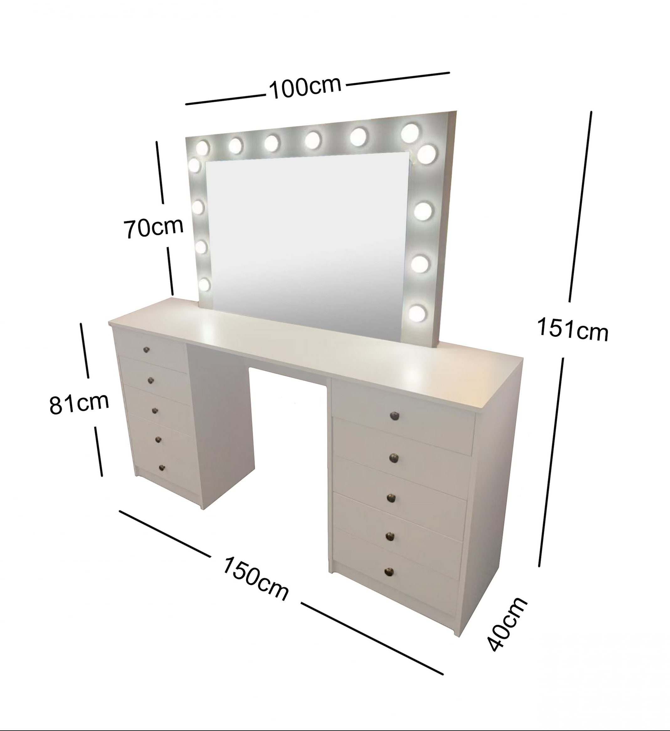White Make-Up Dresser Table with LED Mirror With 10 Drawers  KL-DS06