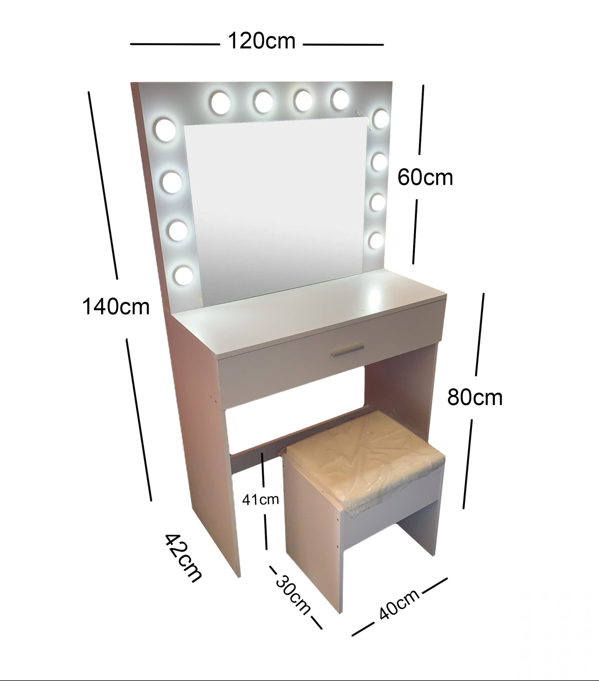 White Make-Up Dresser Table with LED Mirror With Drawer & Pull Out Chair KL-DS02